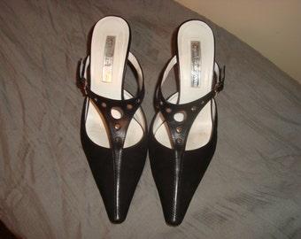 Black Suede/Leather Rupert Sanderson Mules 37 1/2-7.5M