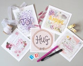 Pack of 5 Greetings Cards, Encouragement Cards, Inspirational Cards, Illustrated Faith, Blank Card