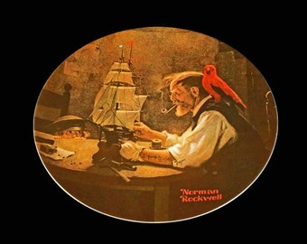1980 Knowles Collector Plate, Norman Rockwell, The Ship Builder, Limited Edition, Numbered Plate, Wall Decor, Decorative Plate
