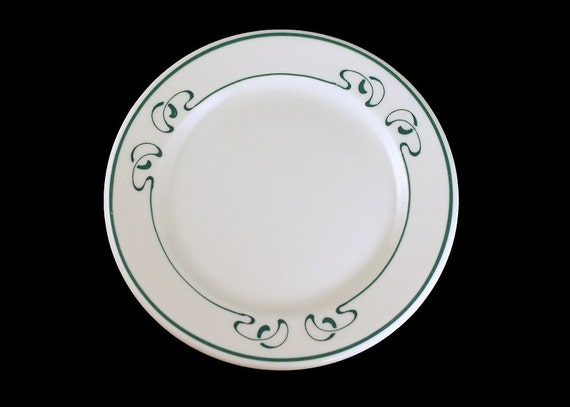 Bread and Butter Plates, Syracuse China, Restaurant Grade, White with Green Squiggle Pattern, Dessert Plates