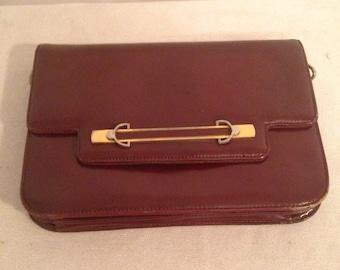 Vintage Burgundy leather handbag clutch