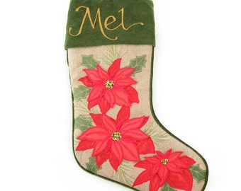 Personalised Burlap Poinsettia Christmas Stocking