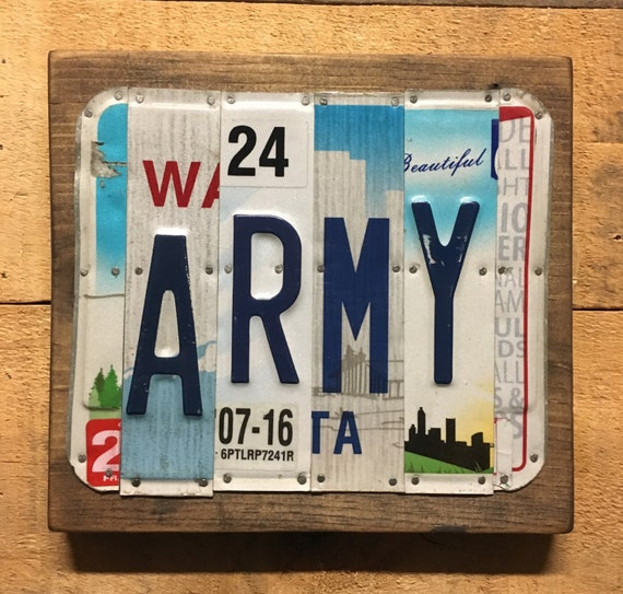 Army License Plate Sign - License Plate Wall Art -FREE shipping in US ! (Rustic Apple Art seen in Country Living Mag)