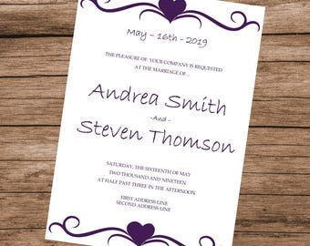 Printable Wedding Invitation Template, Purple Hearts Design, Editable Text & Colors, INSTANT DOWNLOAD, 5x7 inches