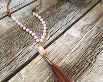 Handmade Tassel Necklace with Rose Quartz