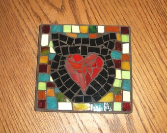 "Colorful Glass Mosaic Picture,Cat Lover,Kitty Cat,Heart,5.75"" by 6"" Square,PET Love,Cats,Wall Art,Plaque,Red,Orange,blue,green,black,"