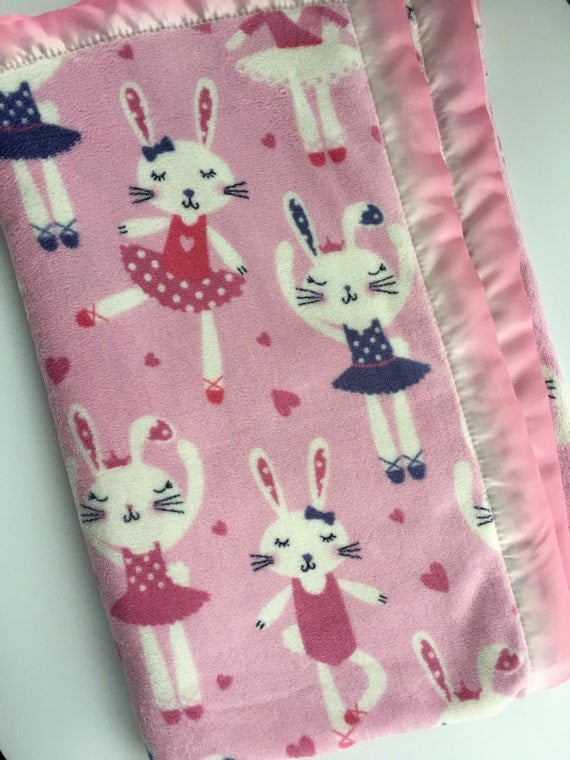 Bunny Ballerina Soft and Fuzzy blanket with Pink and White