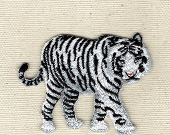 White Bengal Tiger - Natural - Full Body - Walking Right - Iron on Applique - Embroidered Patch - 697145-A