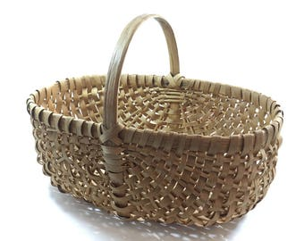 Gathering Basket Handwoven Splint White Oak Forged Nails Woven Wicker Storage Market Eggs Melon Fruits Vegetables Antique Farmhouse