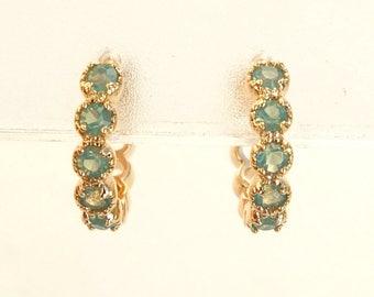 Gold Hoop Earrings, Green CZ Hoop Earrings, CZ Hoops, Gold Hoops, Gold Earrings, CZ Earrings, Small Hoops, Small Earrings