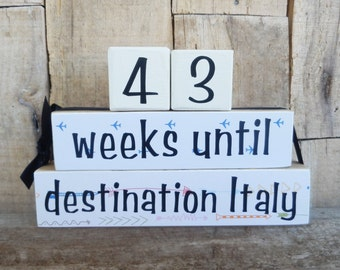 Countdown blocks, vacation countdown,  days until (weeks until) Vacation location, destination (your choice), vacation spot, Travel Plans