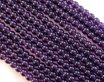 Lot of 100 4mm Tanzanite Czech glass druks, Purple, Amethyst, pressed glass round druk beads, C3601