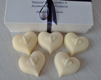 Soy Wax Heart Candles, Wedding Candles, Unscented Candles, Natural Wax, Gift Boxed