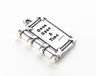 "10pcs 25x22x4.5mm Letter ""Once Upon A Time"" Charm Books Pendant Findings Accessories ML"