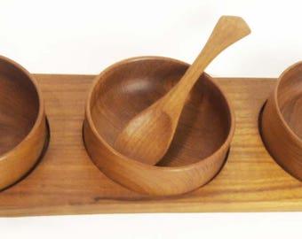 Mid-Century Modern Teak Relish / Condiment Server and Tray
