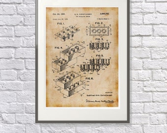 Perfect gift for the Lego lover: Lego Art / Print / Poster -Vintage /  - Lego Patent  - Unique Gift idea Lego Fan Fanatic