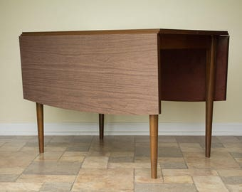 Mid Century Modern Drop Leaf Dining Table Laminate Top w/ 3 leaves included