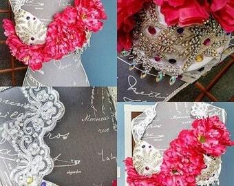 SALE Bright floral and rhinestone EDC rave bra