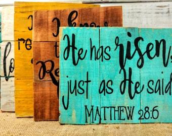 Bible verse pallet wall decor, rustic bible verse, Easter bible verse, Christian home decor, Christian art, bible verse, Easter decor