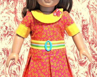 "For 18"" American Girl Doll Clothes - Orange Retro Style Pleats Dress"
