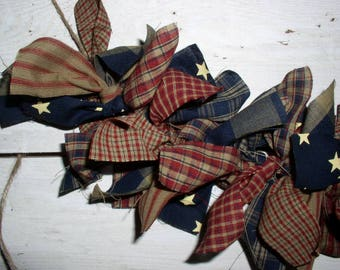 Primitive Americana Rag Garland Kit Pre-Cut Strips...Easy DIY Project for Patriotic Decor DIY Americana Homespun Fabric Garlands