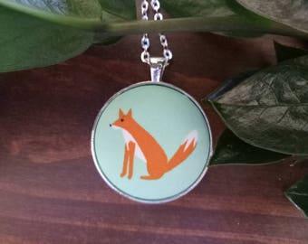 Little Fox Mint Green Woodland Fabric Button Animal Stud Earrings