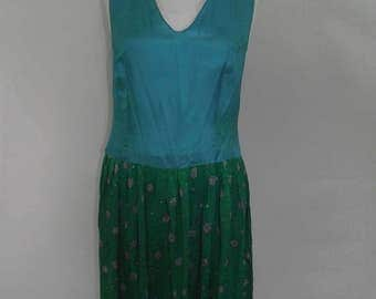 Vintage silk dress 80s Maggy  London turquoise blue emerald green 100 Percent silk floral embroidered dress  size medium