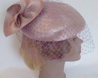 Vintage 80s pillbox hat by Mitzi Lorenz of London lilac hat with bird cage veil