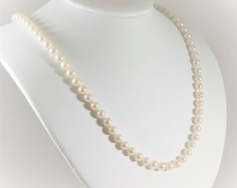 Lovely 14k Gold and 6mm White Pearl Necklace