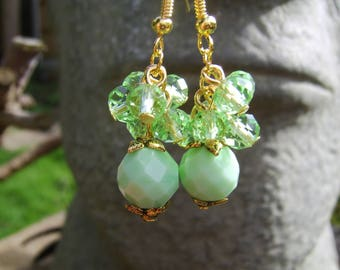 Mint Green Glass Bead And Crystal Cluster Earrings. Green Earrings. Crystal Earrings. Beaded Earrings. Czech Glass Bead And Crystal Earrings