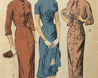 Advance 8045 junior misses sheath dress & jacket size 11 bust 29 vintage 1950's sewing pattern