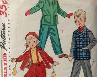 Simplicity 4026 child's snowsuit, jacket, pants & cap size 6 vintage 1950's sewing pattern