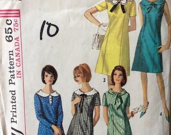 Simplicity 5924 vintage 1960's junior misses A-line dress sewing pattern size 9 bust 30 1/2 bust 30.5