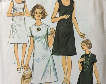 Simplicity 9175 misses half-size A-line Jiffy dress size 18 1/2 bust 41 vintage 1970's sewing pattern
