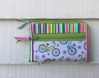 Bicycle Wallet, Stripe fabric Wallet, Womens bike pouch, small zipper wallet, zipper pocket wallet, small bike wallet, womens bicycle bag