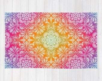Mandala Meditation Rug Rainbow Mandala 2x3 rug boho rug 3x5 rug 4x6 area rug bohemian throw rug colorful dorm room rugs yoga gifts for her
