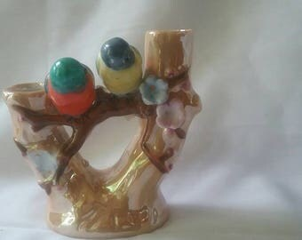 Vintage Lusterware Bud Vase Birds on a Branch Japan