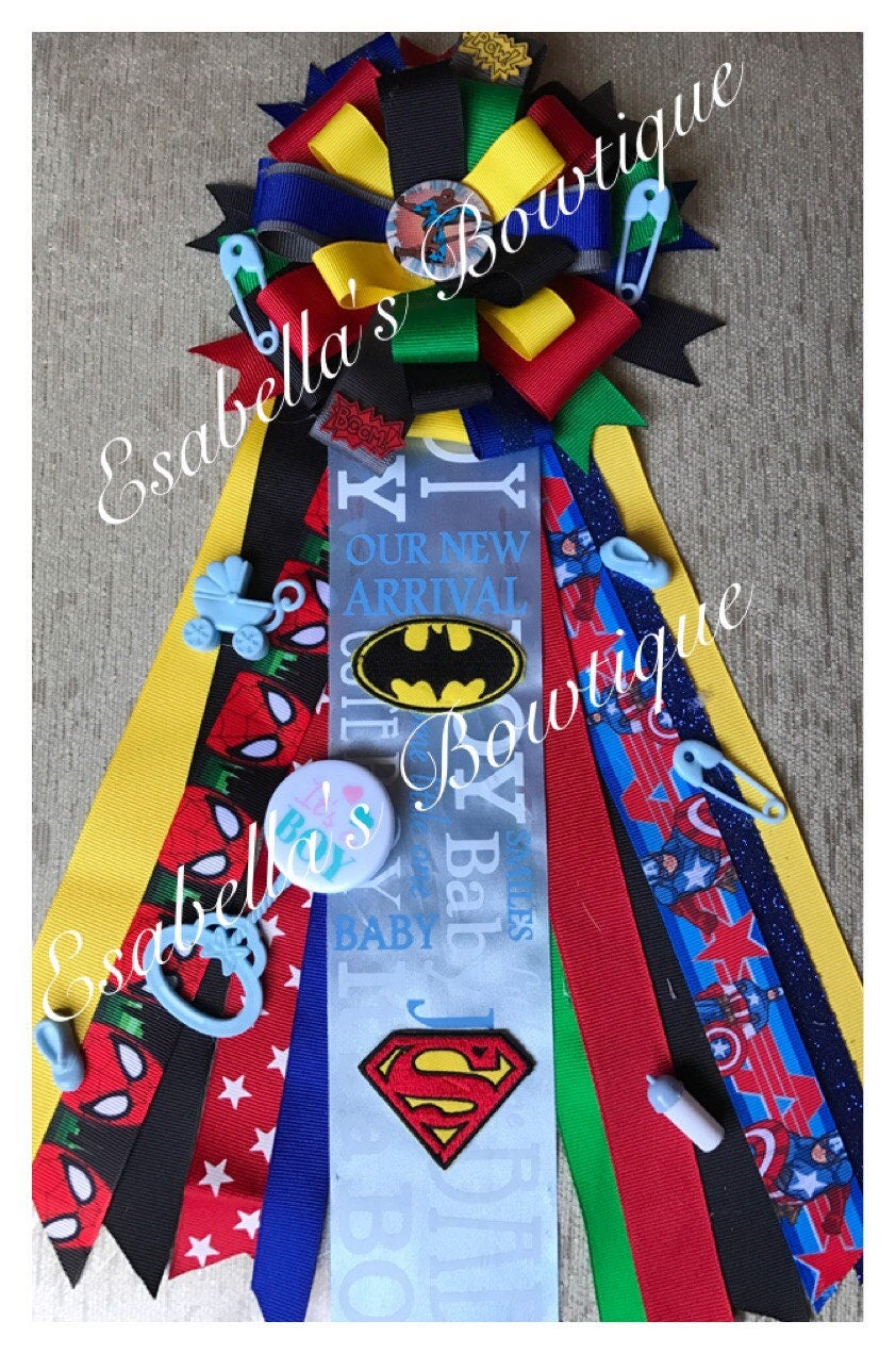 Super Heroes Corsage;baby Shower Corsage;baby Shower;mom To Be;Dad To Be;baby  Corsage