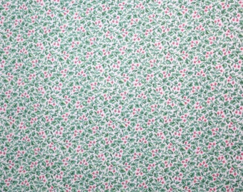 Green Floral Fabric, Floral Fabric, Cherry Blossom Fabric, Green Pink Floral Fabric, Quilting Fabric,