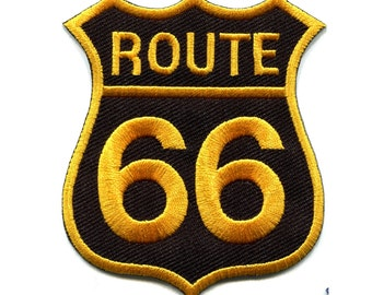 Route 66 Patch California Patch Road Sign Iron On Embroidered Applique, Sew on patch Biker Applique - Gold on black