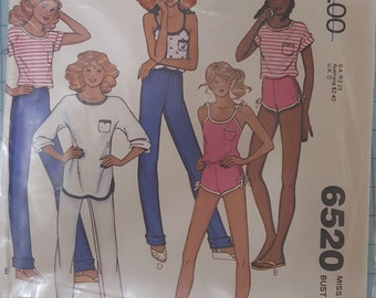McCalls 6520 Misses Top and Pants or Shorts Size 10 Bust 32.5