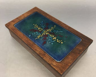 Bovano Cheshire USA Blue Abstract Copper Enamel Vintage MCM Trinket Desk Box