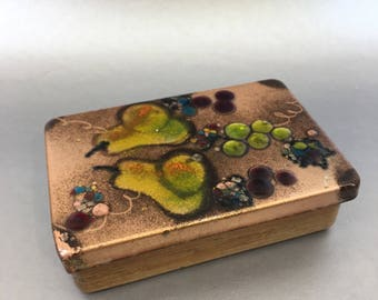 "Vintage Mid Century Landau  Los Angeles 7"" Teak & Copper Enamel Wooden Trinket Box"