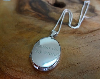 Sterling Silver Oval Locket Necklace Free Personalised Engravable Message