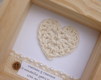 2nd anniversary gift, 2nd wedding anniversary gift, cotton anniversary present,2 year anniversary , 2nd anniversary, personalised frame