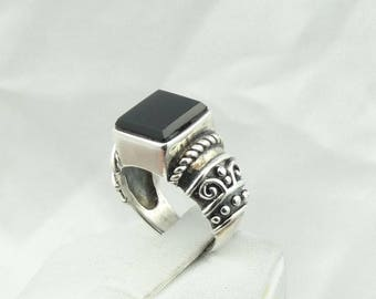 Vintage Onyx Decorative Sterling Silver Ring Size 6 3/4 #ONYX-SR4