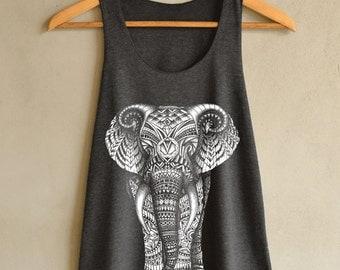 Elephant Shirt - Elephant Aztec Design Shirts - Animals Tank Top - Dark Gray Women Size S M L