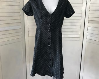 1950s Taffeta black dress with aqua speckles