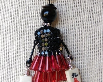 Mahjong Lady necklace / Mah jong tiles  / Mahjongg jewelry / Ma jong fun