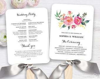 Lush Floral Wedding Program Fan Template, Printable Fan Wedding Programs, Wedding Fans, DIY Wedding Programs, Editable text, Lush Spring